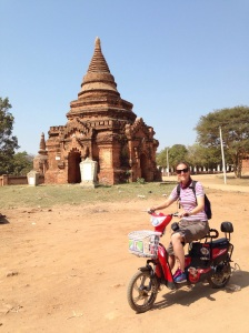 With the stunning red stone temples as a backdrop, Bagan is well suited to a chase scene. However Natalie's e-bike may not be Bond's best choice!