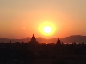 Sunset over the temples