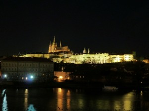 Prague Castle at night from Charles Bridge