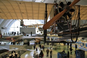 The entrance hangar with numerous pre-WWI planes
