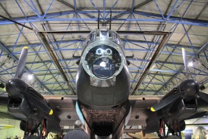 The enormous Lancaster Bomber taking pride of place in the 'Bomber Hall'