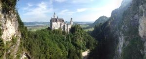 The view of Neuschwanstein Castle from Mary's Bridge