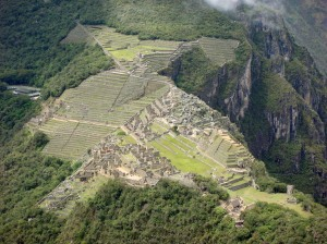 Looking down of the 'Lost City' from the peak of Waynu Picchu