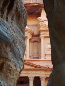 Approaching the Treasury  of Petra from the 1.2km long Siq