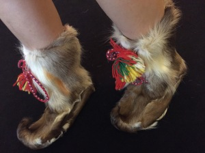 When in Lapland, reindeer boots are the height of Christmas fashion!
