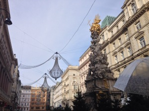 The enormous chandilliers of the Graben in the center of town.