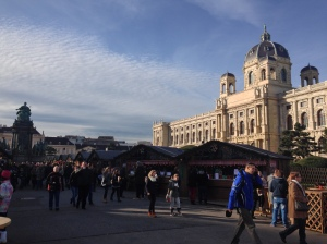 The markets of Maria Theresa Platz are surrounded by stunning architecture