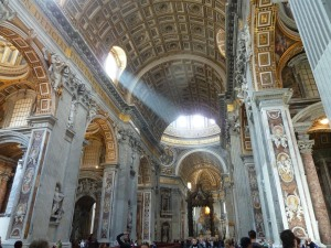 The incredibly ornate interior of St Peters Basilica