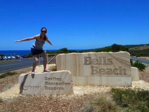 Surfs up at the famous Bells Beach on the Great Ocean Road, Victoria, Australia