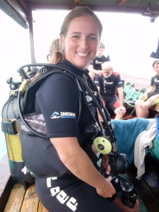 Natalie doing what she does best, preparing for a dive in Zanzibar on Christmas Eve