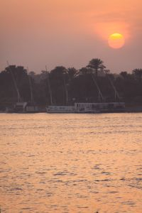 The sun setting over the alluring Nile River