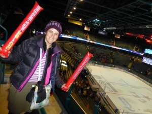 Natalie getting in the spirit at the Ice Hockey in St Petersburg