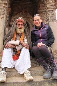 Happier times, Natalie and one of the locals in Bhaktapur