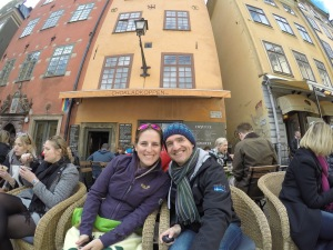 Chilling out at the Chocolate Cafe in Gamla Stan.
