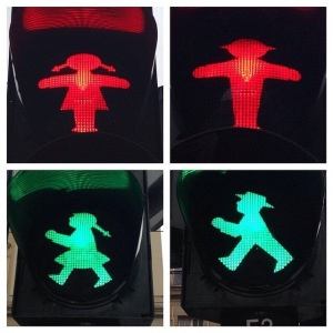 Ampelmann & Ampelfrau (found in Dresden), so much more appealing than the boring Western crossing signal